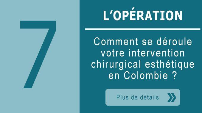 Opération d'une chirurgie esthétique en Colombie